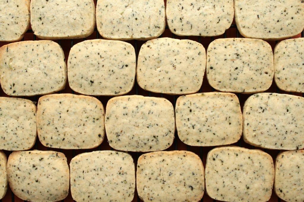 Chai Shortbread ectangular shaped spiced shortbread cookies.