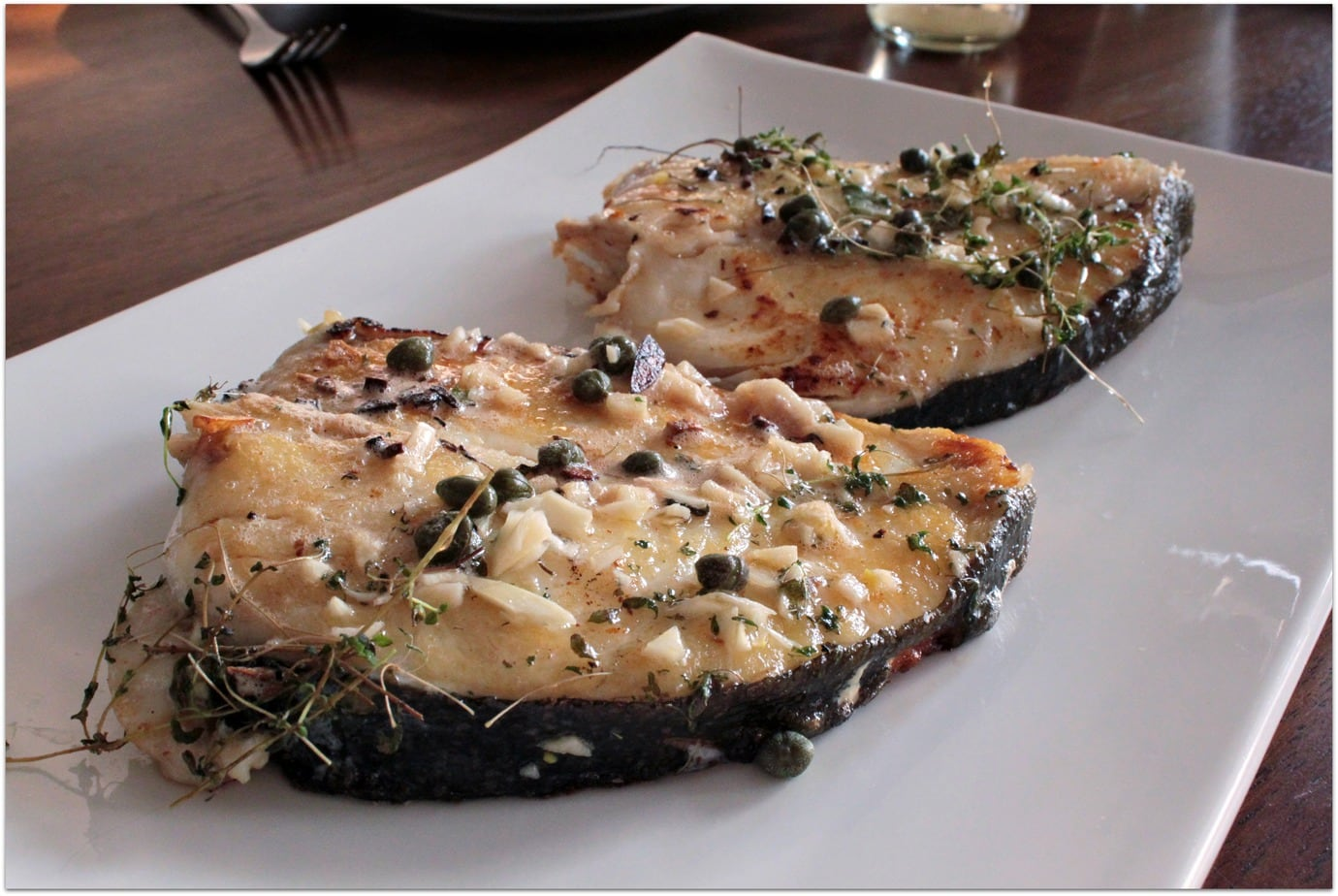 Butter Basted Halibut Steaks With Capers Dish N The Kitchen