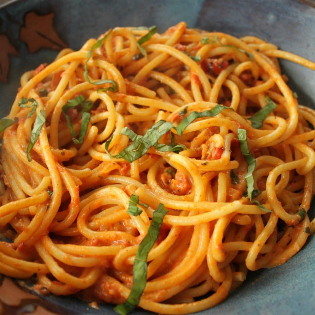 This Vodka Sauce recipe is easy, quick and SO delicious! Guaranteed to bring your loved ones to the table. Serve with your favourite pasta and add chicken or shrimp for extra protein. #bucatini #pasta #vodka sauce
