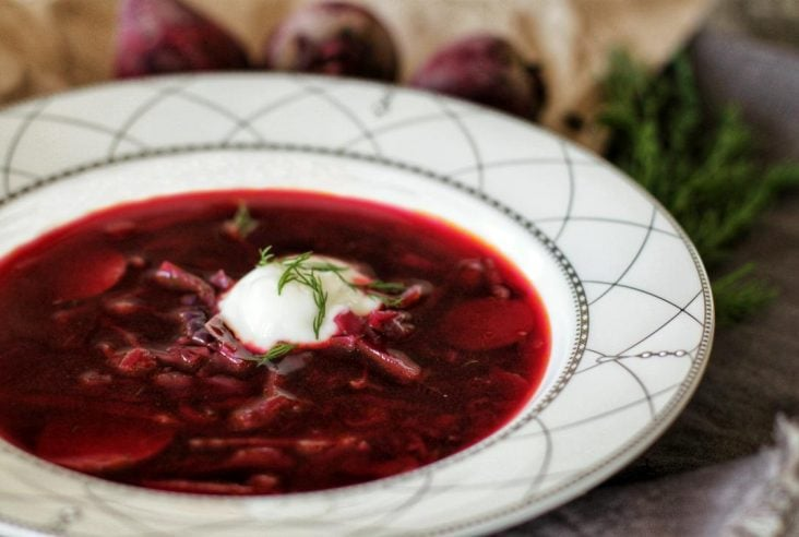 Beauty is in the eye of the beet holder. Whip up this stunning Red Beet and Cabbage Borscht for those late night Autumn family dinners. It's absolutely dill-icious! #borscht #soup #beets