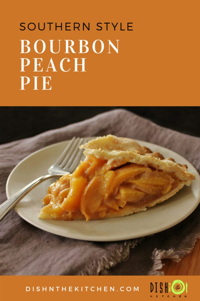 All the classic Peach Pie flavours with a little Bourbon thrown in for good measure is enough to transform you to a front porch in the Sunny South. #BourbonPeachPie #PeachPie #Pastry #Pie