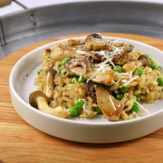 Porcini Mushroom and Black Garlic Risotto is an easy, healthy weeknight meal that's full of flavour. Use fresh seasonal porcini or rehydrate dried porcini. It's easy to keep all the ingredients in your pantry for a quick family dinner. #risotto #Porcini #blackgarlic #weekdaydinner #quickdinner