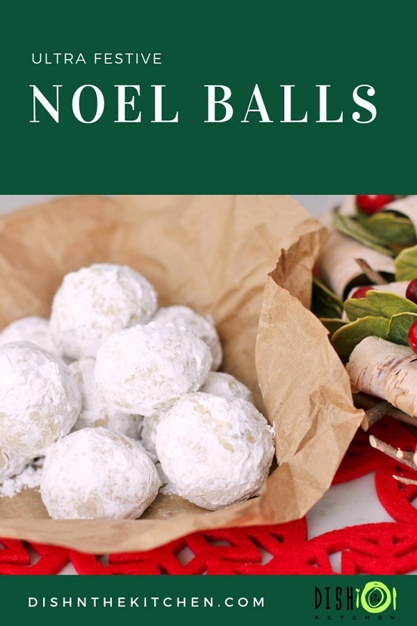 Noël Balls-Magical balls of melt in your mouth shortbread cookie surrounded by powdered sugar snow. Messy, but oh-so-delicious! #ChristmasBaking #ChristmasCookies #NoelBalls