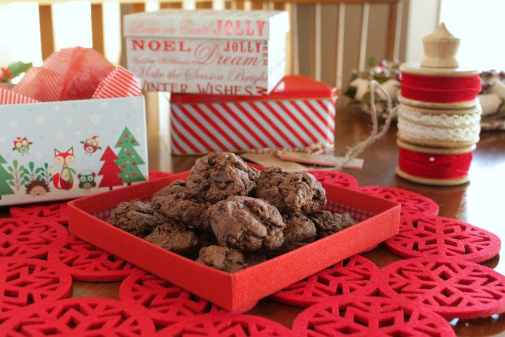Ancho Chili Chocolate Cookies brown cookies in a red gift box.