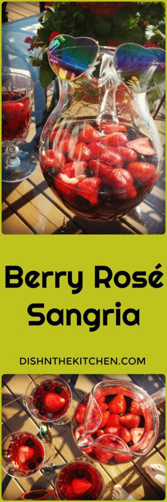 Berry Rosé Sangria is sure to become your favourite Summer Patio sipper. Sweet, but not too sweet and full of ripe summer berries and a hint of Chambord liqueur. Add in your favourite chilled Rosé and soak up that summer sun! #sangria #summercocktail #roseallday