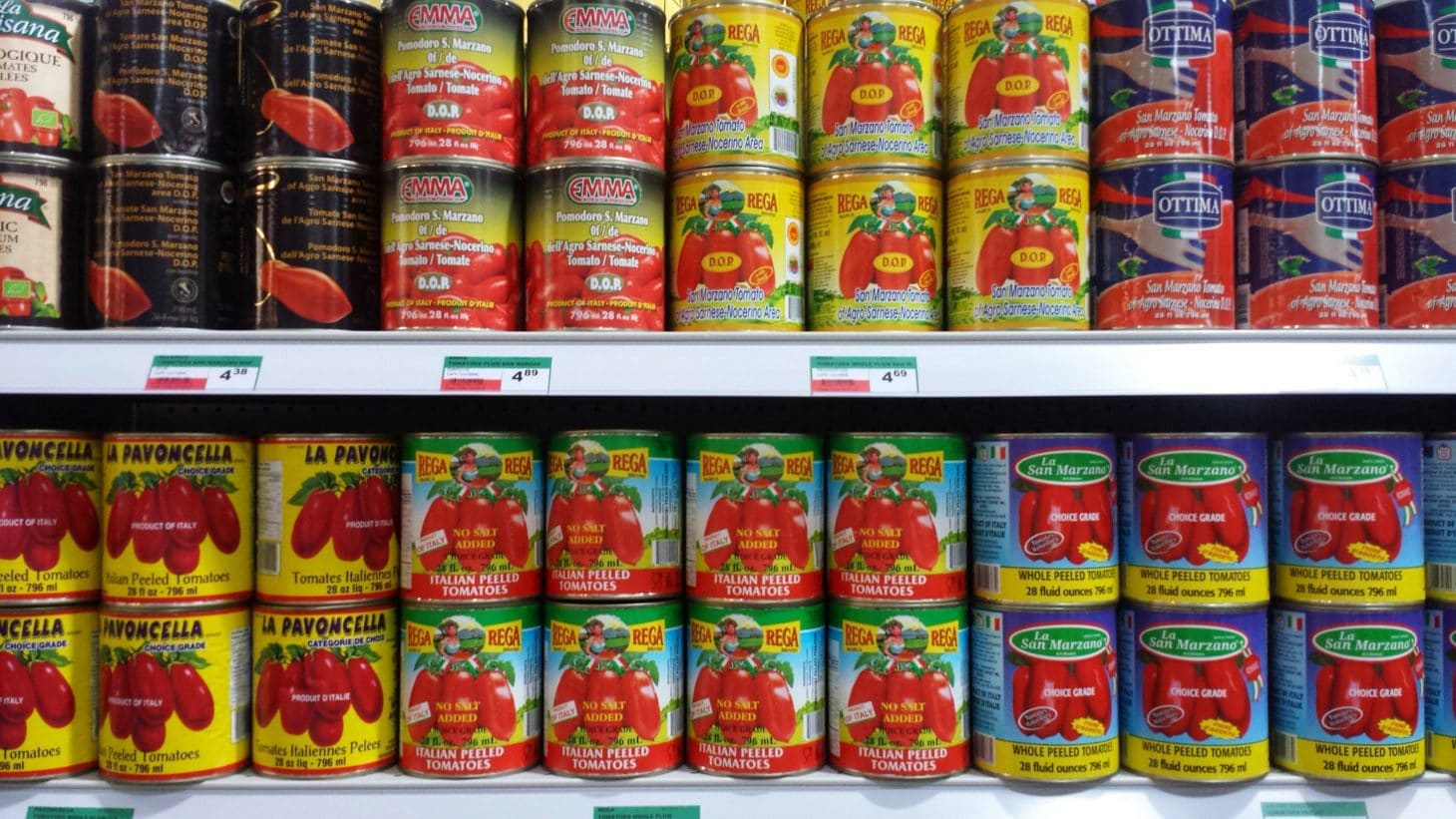 Cans of San Marzano Tomatoes