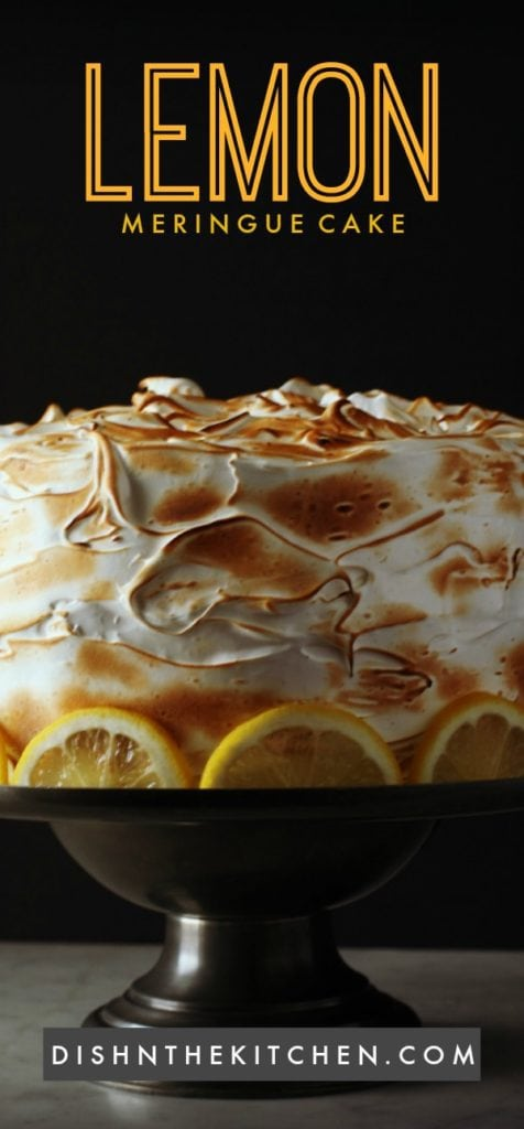A light airy cake with lemon curd and meringue frosting