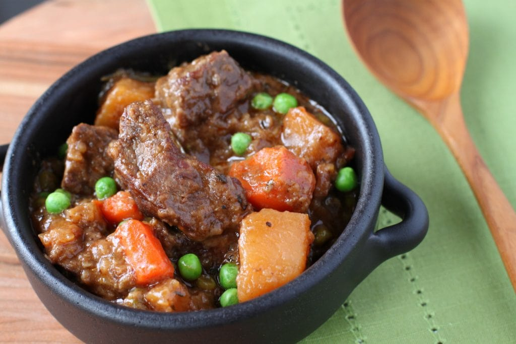 A Bowl of Beef Stew with Root Vegetables