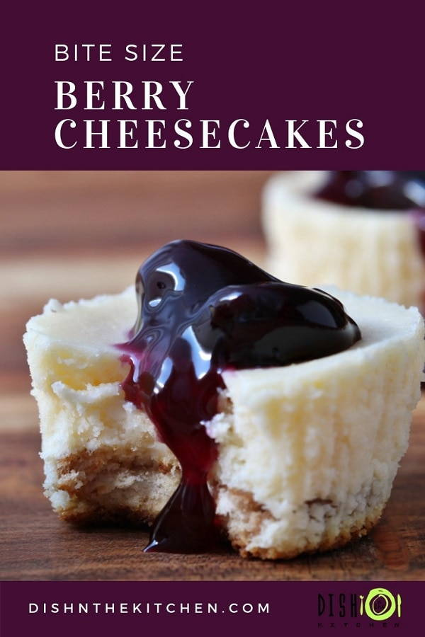 Perfectly sized, perfectly sweet, perfectly decadent Bite Sized Berry Cheesecakes are the perfect after dinner dessert. #dinnerparty #Christmas #cheesecake #berrycheesecake #dessert
