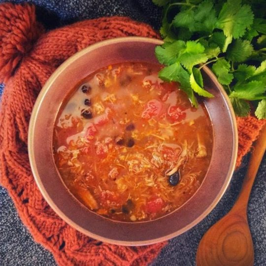 A lively and satisfying fridge soup made using leftover pork carnitas and black beans. #soup #leftovers #fridgesoup #porkcarnitassoup
