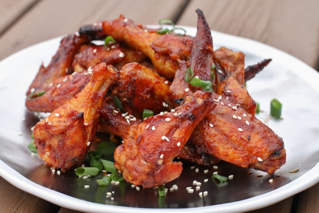 Sweet and Spicy with just the right amount of sticky! #wings #chickenwings #gochujang #maplesyrup