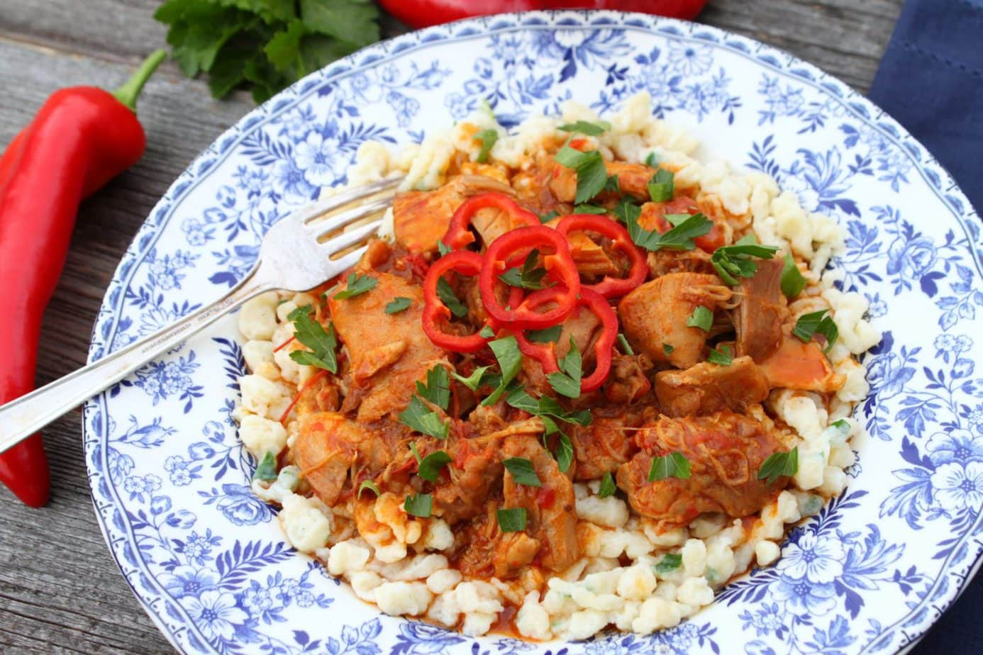 Delicious and Quick Instant Pot Hungarian Chicken Paprikash on traditional Noodles the whole family will enjoy. #Paprikash #nokedli #instantpot