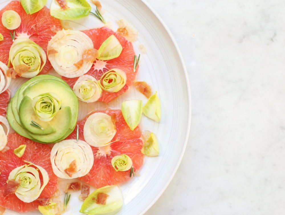 This stunning Pink Grapefruit Salad with Endive and Avocado is the perfect combination of winter seasonal ingredients and flavours. #wintersalad #salad #pinkgrapefruit #citrussalad #citrus
