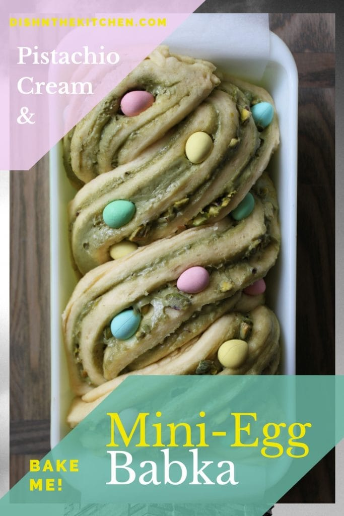 A pistachio cream filled babka loaf studded with mini eggs