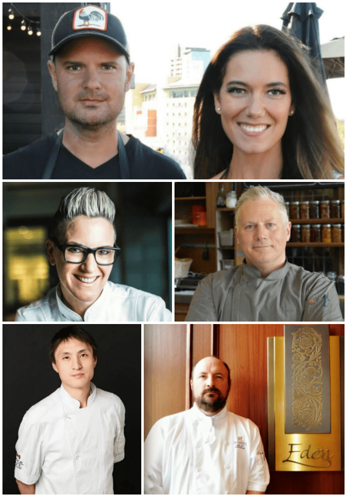 A collage of chefs participating in Cochon555 in Banff