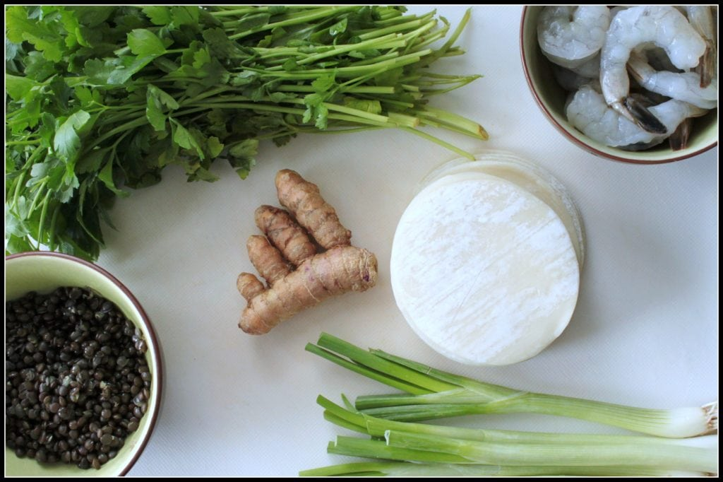 Ingredients for Shrimp Lentil and Turmeric Dumplings