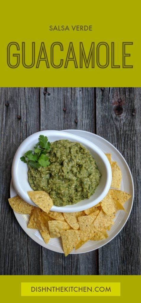 A spicy, creamy, smoky dip for your chips! Great for slathering on grilled meat too. #guacamole #salsaverde #grilling