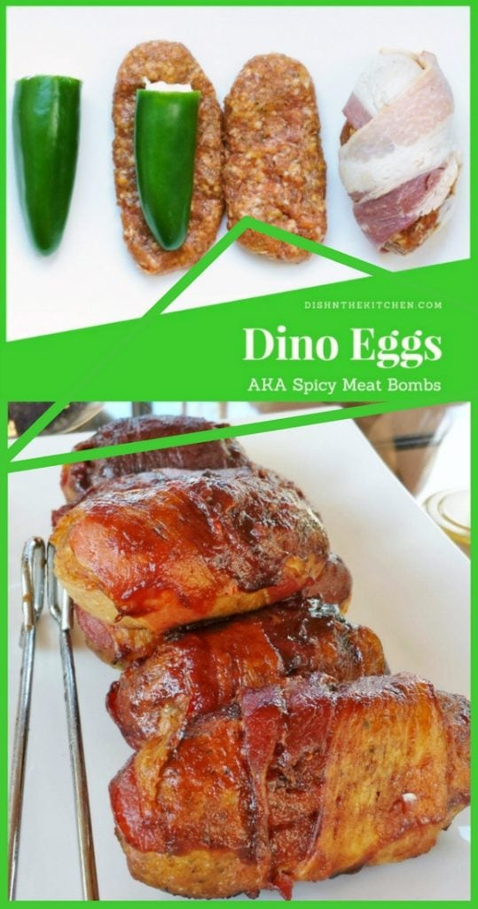 The Ultimate Summer BBQ Appy - Spicy Meat Bombs are Jalapenos stuffed with cream cheese, wrapped in spicy chorizo sausage meat and covered in bacon. #appy #appetizer #grilling #chorizo #jalapeno #bacon
