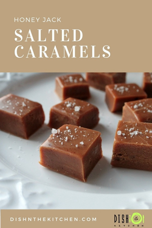 These salted caramels are soft, chewy and perfectly melt away in your mouth. The Honey Jack really gives you a nice little kick in the sweet tooth! #saltedcaramels #homemadecandy #candy